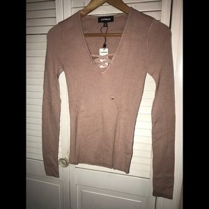 NWT Express Fitted V Neck Sweater